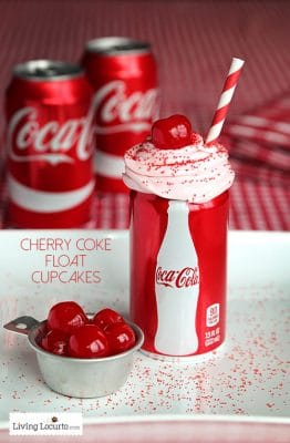 Cherry Coke Float Cupcakes  | Free Football Party Printables