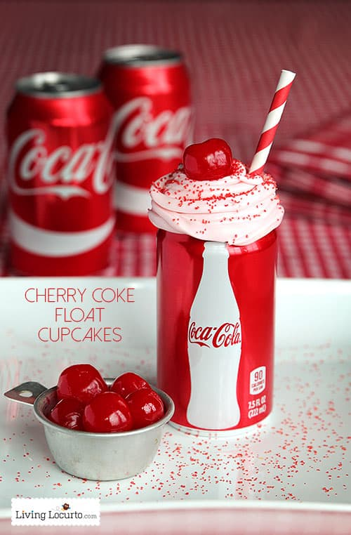 Cherry Coke Float Chocolate Cupcakes in Coca-Cola Cans. Such a cute ...