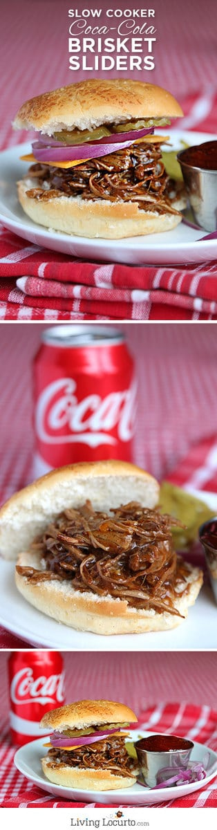 Slow Cooker Coke Beef Brisket Sliders Recipe. So easy and delicious! LivingLocurto.com