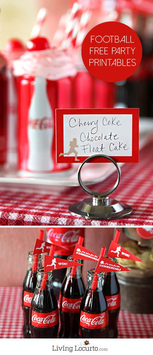 Cherry Coke Float Cupcakes - Football party ideas, recipes, desserts and free printables.