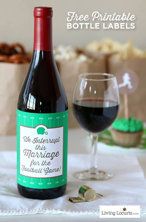 This funny football wine bottle label makes a great hostess gift for a football party or a tailgate party.