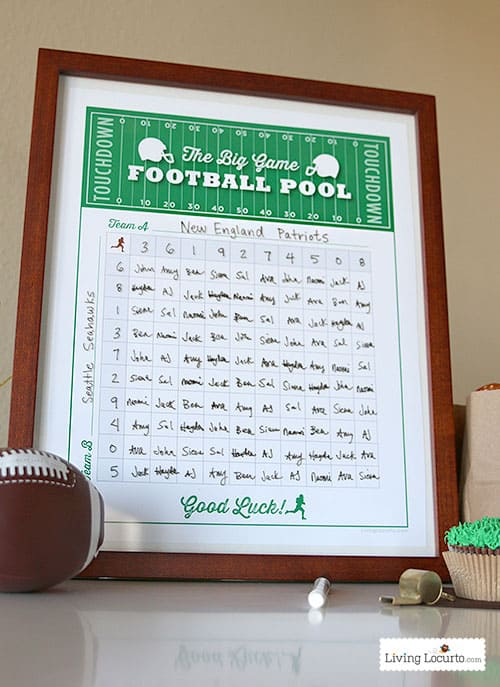 Free Printable Football Squares Pool Poster. Perfect for a Super Bowl party! Livinglocurto.com