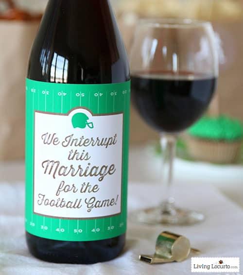 Printable Wine Bottle Labels: Funny Football Wine Bottle Label