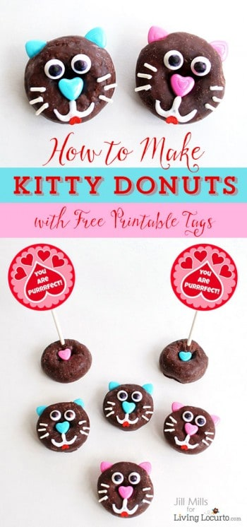 How to make kitty cat donuts. Fun food idea! Cute for a pet themed birthday or Valentine's Day. Livinglocurto.com