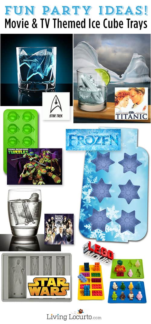Movie and TV Themed Ice Cube & Candy Mold Trays. So many great Party Ideas for drinks, candy and more! LivingLocurto.com