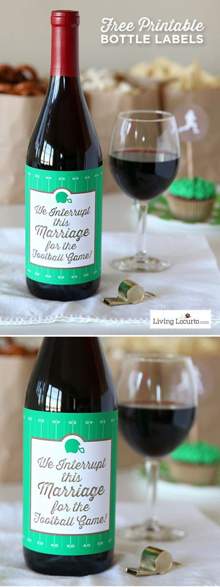 This funny football wine bottle label makes a great hostess gift for a football party or a tailgate party. If your spouse loves football, this free printable wine label is hilarious and often true! #freeprintable #football #partyideas #printables #wine #funny #meme #footballparty