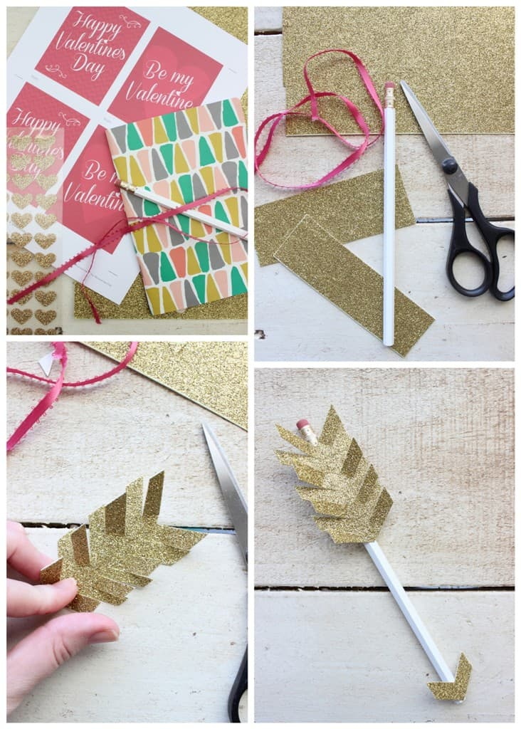valentines day diy gift idea paper arrow pencils and notebook gift sets livinglocurto