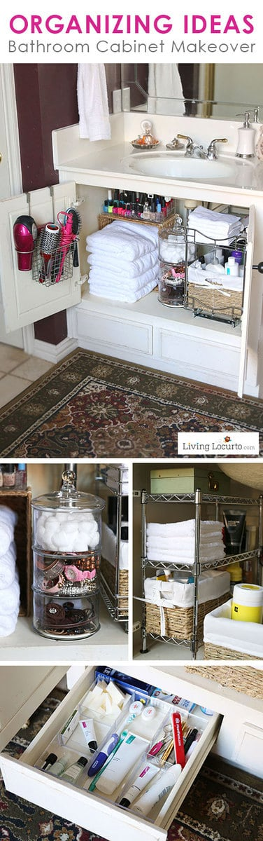 Quick Organizing Ideas for your Bathroom! Easy Cabinet Bathroom Organization Makeover with Before and After photos. DIY Home Decor. Organize your bathroom in a day! LivingLocurto.com #organizing #smallbathroom #bathroom #bathroomideas #organized #hacks #homedecor #bathroomdesign