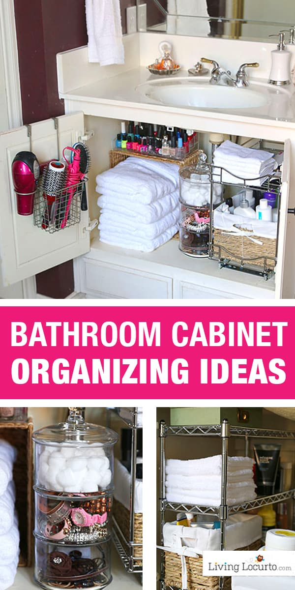 Quick Organizing Ideas for your Bathroom! Easy Cabinet Bathroom Organization Makeover with Before and After photos. DIY Home Decor. Organize your bathroom in a day! LivingLocurto.com