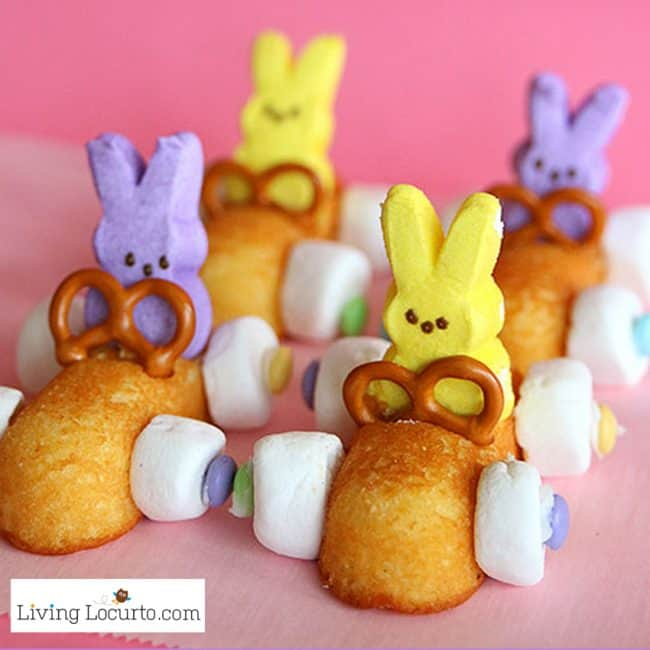 Easy no bake Easter Peeps Desserts made with Peeps marshmallows and Twinkies! A few fun food recipe ideas that you can do in minutes with Peeps. Easter Bunny Race Car Treats are a fun food craft for kids!