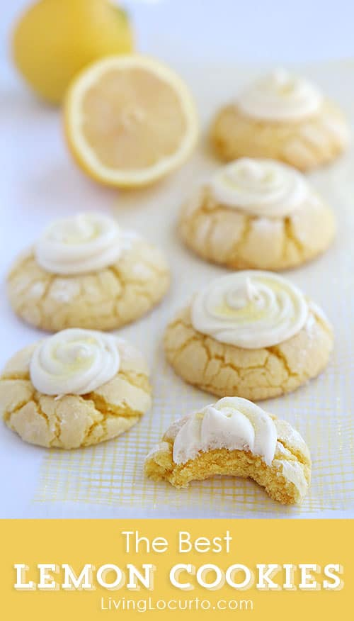 THE BEST Melt in your mouth Lemon Cookies Recipe with Lemon Frosting. Easy lemon crinkle cake mix cookies.
