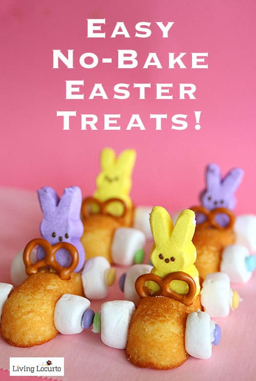 Easter Peeps Desserts - Easy No Bake Bunny Rabbit Race Cars made with Twinkies and Peeps Marshmallows