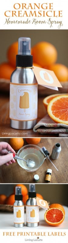Orange Creamsicle Room Spray! An easy DIY Gift Idea with Essential Oils and Free Printable Labels. LivingLocurto.com