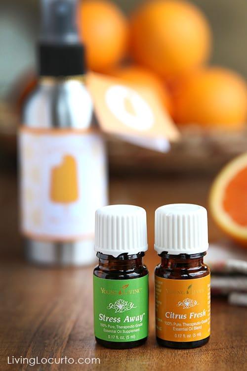 Young Living Essential Oils - Stress Away and Citrus Fresh - Easy Homemade Orange Creamsicle Room Spray recipe.