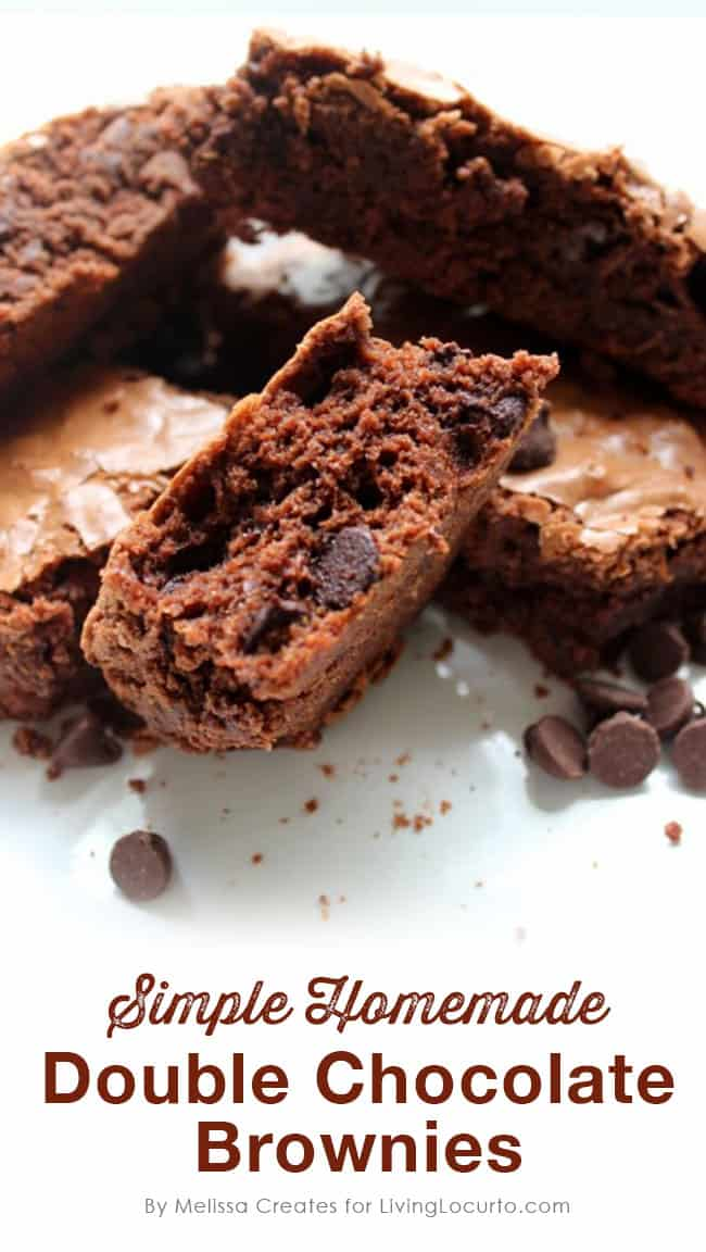 Simple Homemade Double Chocolate Chip Brownies Recipe. LivingLocurto.com