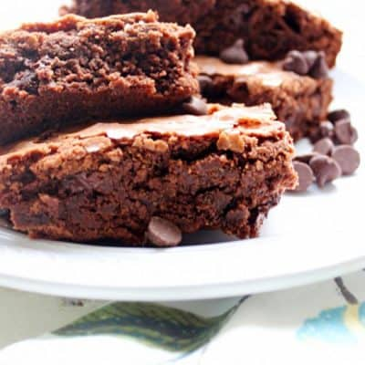 Simple Homemade Double Chocolate Chip Brownies recipe everyone enjoys. The perfect brownie recipe for any chocolate lover!