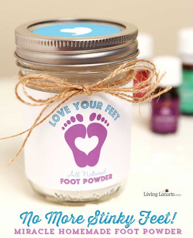 Homemade Miracle Foot Powder made with Essential Oils. No More Stinky Feet! Enjoy cute free printable labels for gifts. LivingLocurto.com