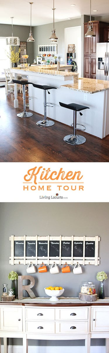 Kitchen Home Tour - Home decor photos of a bright and cheery kitchen! LivingLocurto.com