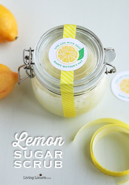 Easy DIY Gift Idea! Homemade Lemon Sugar Scrub and Mother's Day Free Printables. LivingLocurto.com