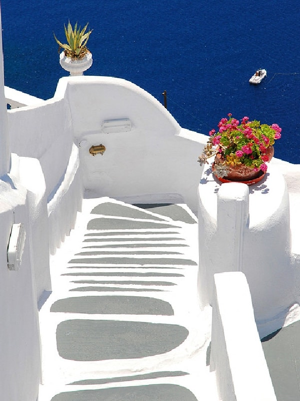 Stairs in Santorini. Greece