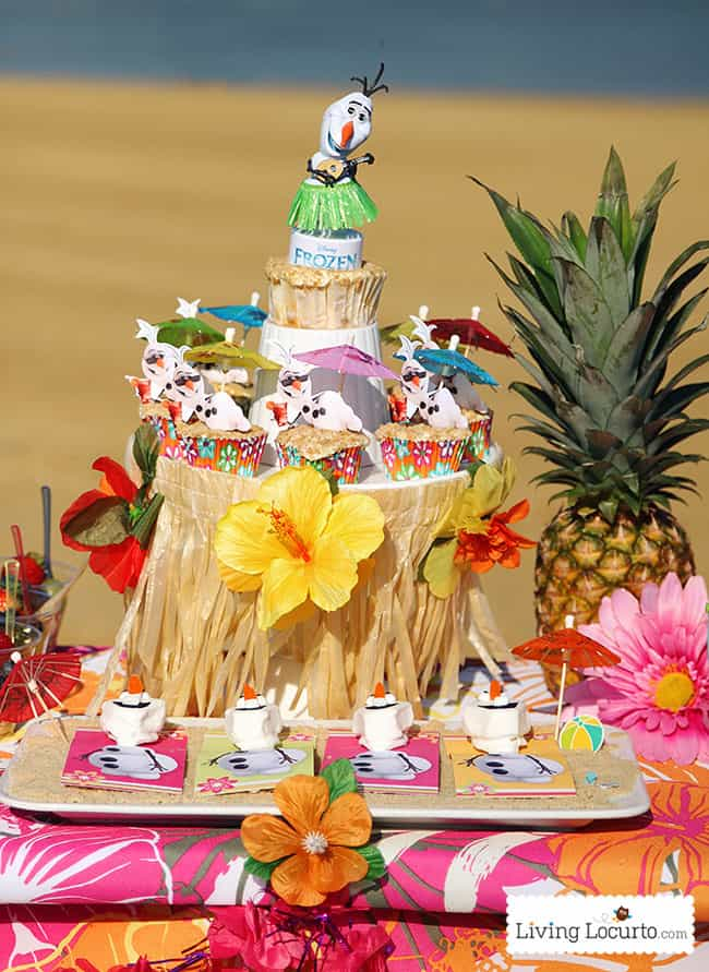 Frozen Summer Birthday Party Ideas! Disney's Olaf finally gets to enjoy the beach at a Luau. Fun food ideas, cupcakes, printables and games for a luau, beach or a pool party. LivingLocurto.com