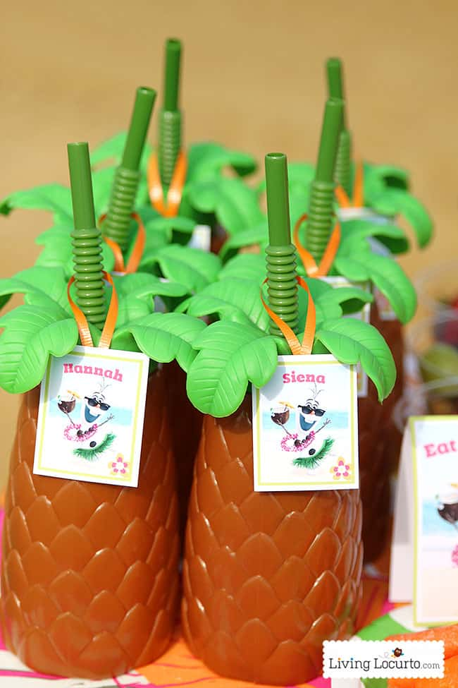 Frozen in Summer Birthday Party Ideas! Disney's Olaf finally gets to enjoy the beach at a Luau. Fun food ideas, cupcakes, printables and games for the beach or a pool party. LivingLocurto.com