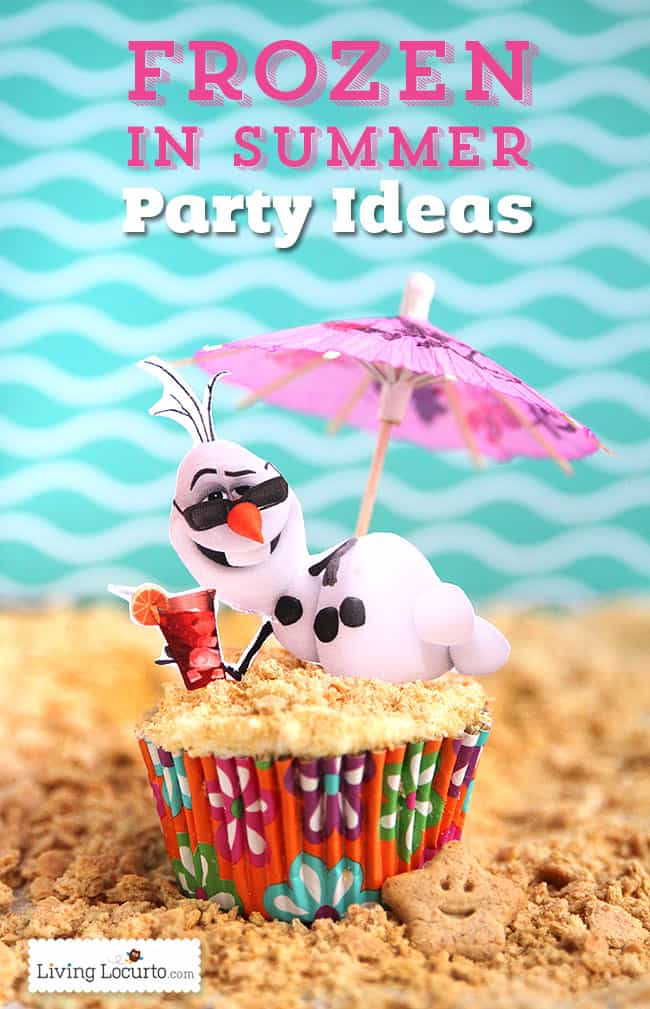 Frozen in Summer Birthday Party Ideas! Disney's Olaf finally gets to enjoy the beach. Fun food ideas, cupcakes, printables and games for the beach or a pool party. LivingLocurto.com