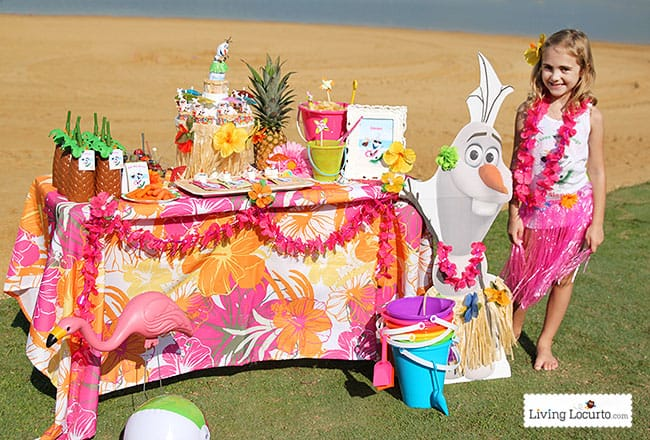 Frozen Summer Birthday Party Ideas! Disney's Olaf finally gets to enjoy the beach at a Luau. Fun food ideas, cupcakes, printables and games for the beach or a pool party. LivingLocurto.com
