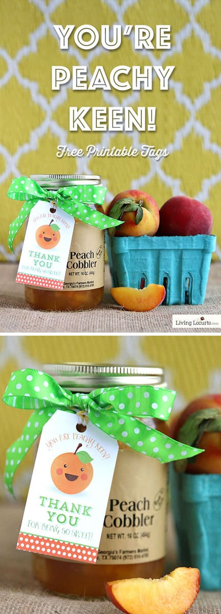 You're Peachy Keen! Free Printable Thank You Gift Tags by LivingLocurto.com