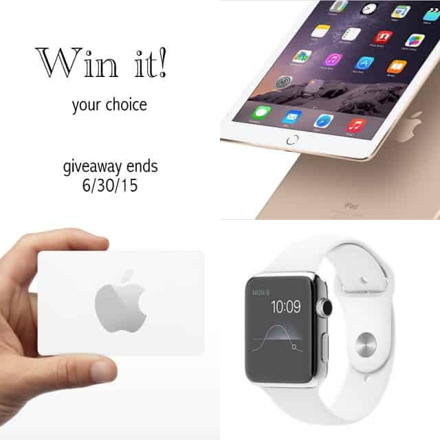 FUN Summer Giveaway. Enter to win a NEW Apple Watch, iPad or Apple gift card! Ends 6/30/15 LivingLocurto.com