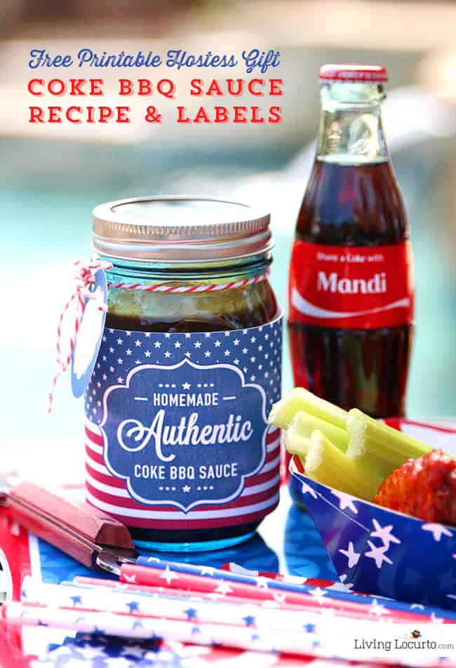 Coke Barbecue Sauce with Free Printable Labels. Such a cute and simple hostess gift idea for a party! LivingLocurto.com #ShareaCoke #ShareaCokeSweepstakes