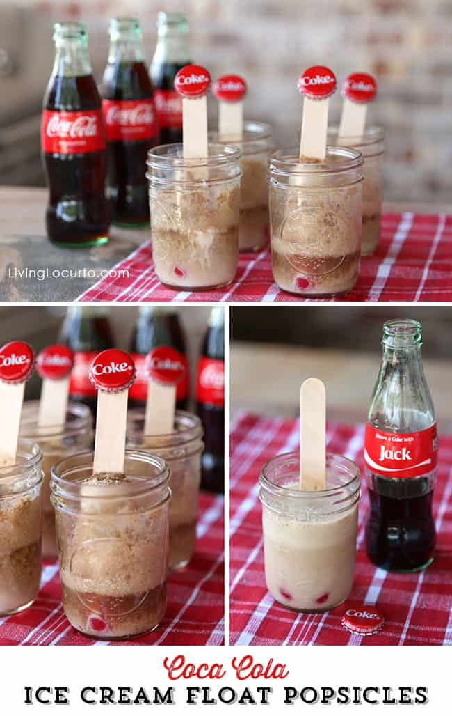 Sweet Picnic Ideas. Share a Coke Float Ice Cream Popsicles & Free Printable Coupons. LivingLocurto.com #shareacokesweepstakes