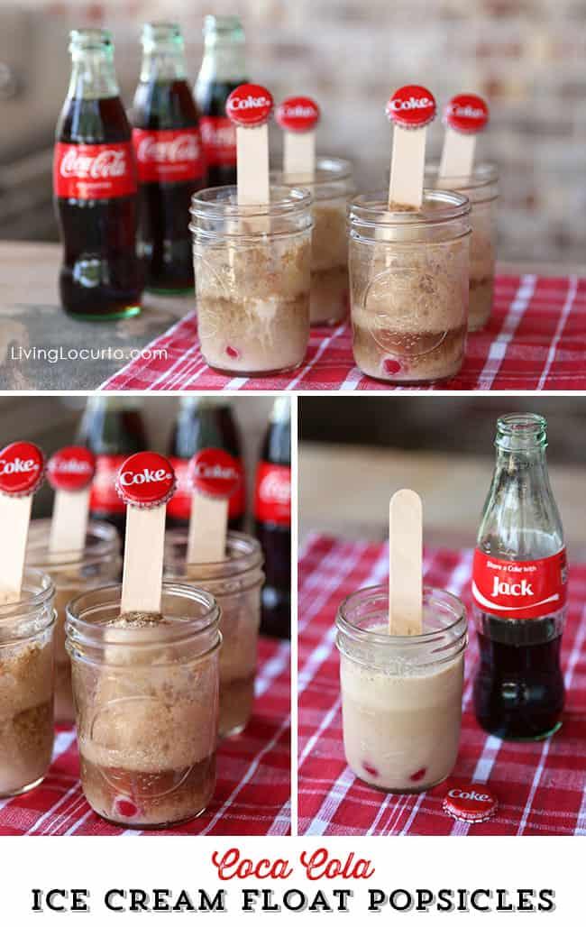 Easy Summer Picnic Ideas. Coke Float Ice Cream Popsicles Dessert Recipe