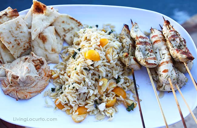 Greek Chicken Skewers and Orzo Pasta Salad Recipe. LivingLocurto.com