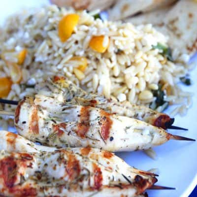 Greek Chicken Skewers and Orzo Pasta Salad