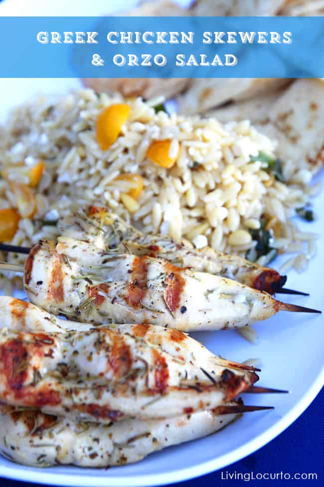 Greek Chicken Skewers and Orzo Salad Recipe. LivingLocurto.com