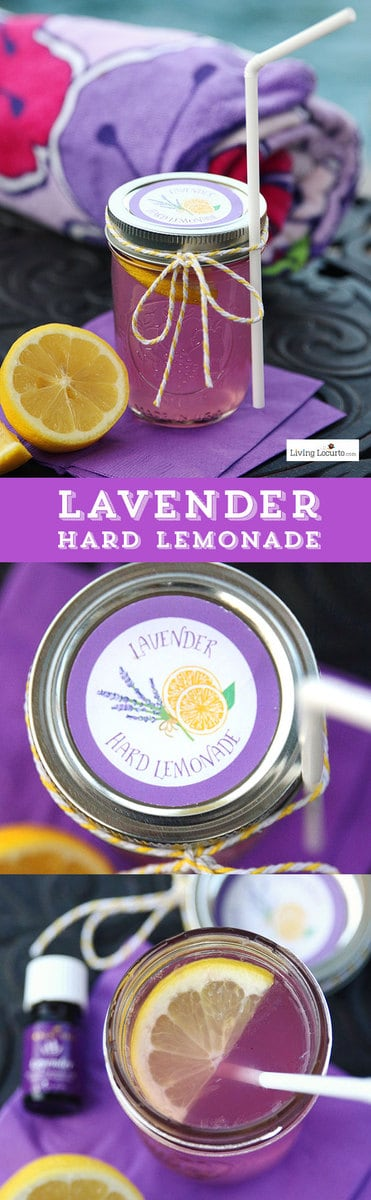 Lavender Hard Lemonade and free printable labels. A cute drink to make by the jar for a party. Smelling the lavender as you sip is refreshing and relaxing. LivingLocurto.com