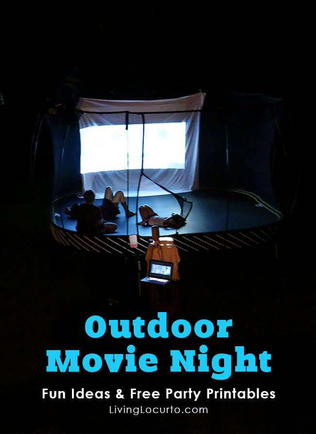 Outdoor Movie Night Ideas with Springfree Trampoline. Get free party printables and learn about the safest trampoline in the world. LivingLocurto.com #SpringfreeFamily