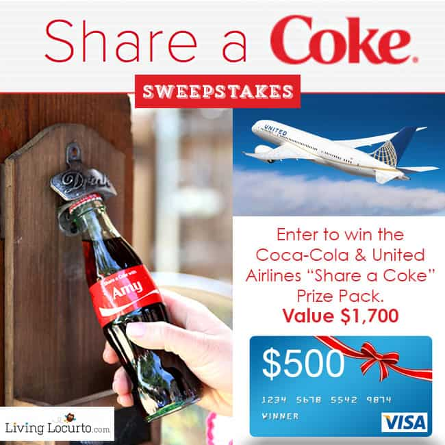 Share Coke & United Airlines Sweepstakes by LivingLocurto.com #ShareaCoke #ShareaCokeSweepstakes