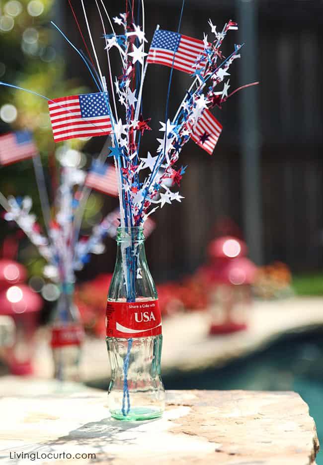 USA Coke Bottle Party Decor. LivingLocurto.com #ShareaCoke #ShareaCokeSweepstakes