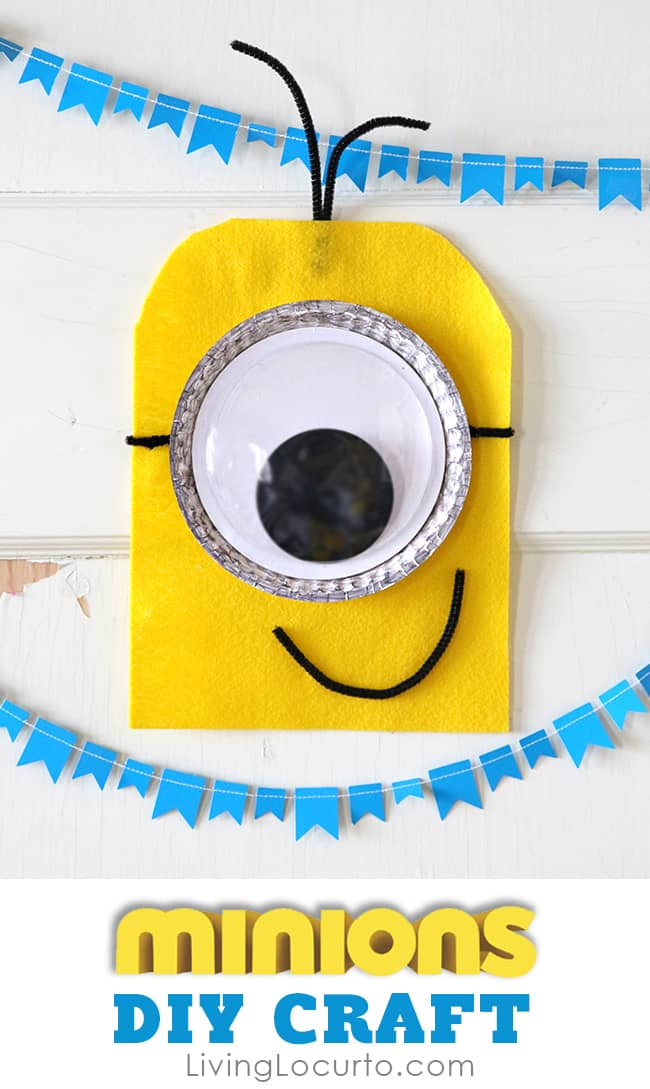 Cute Minions DIY Craft! Fun DIY ideas for a Minions Party or Despicable Me Minion Themed Birthday Party. Easy kids activity. LivingLocurto.com