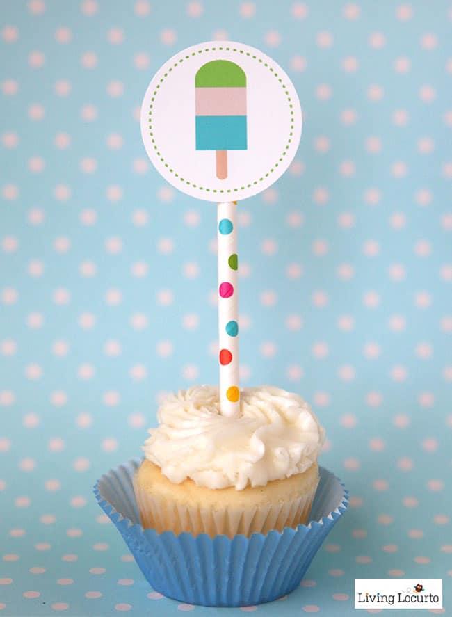 DIY Popsicle Party Ideas. Cute printable cupcake tags via @livinglocurto