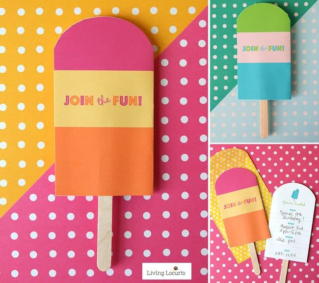 Fun Popsicle Party Ideas with cute printable cupcake tags and party invitations that look like popsicles.