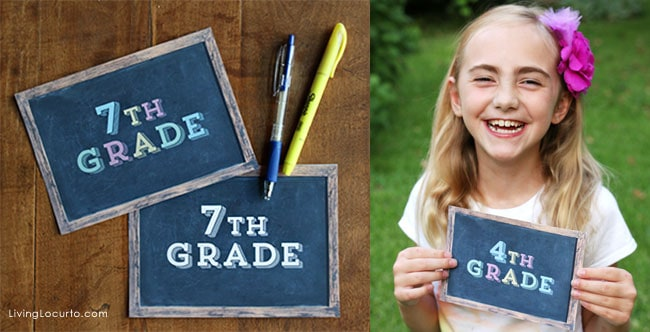 Cute Back to School Chalkboard Printable Photo Prop Signs by @LivingLocurto
