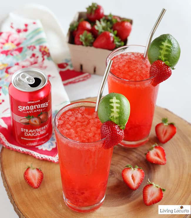 Strawberry Club Special is an easy drink recipe to serve at your next party. A perfect game day drink with a lime football garnish!