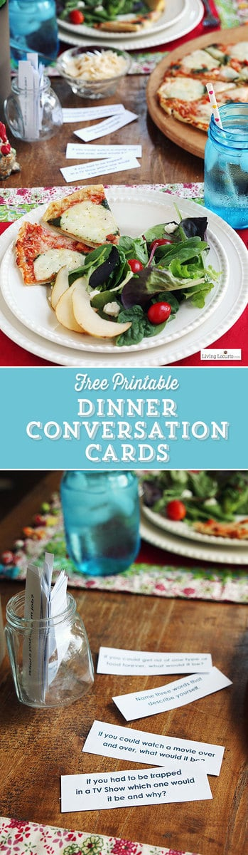 48 Free Printable Dinner Conversation Starter Cards. Make your meals more fun with these perfect printables for your family meals or a dinner party! #freeprintables #printables