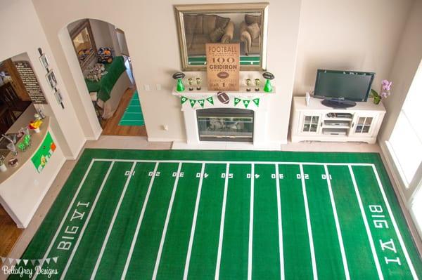 football field living room party idea