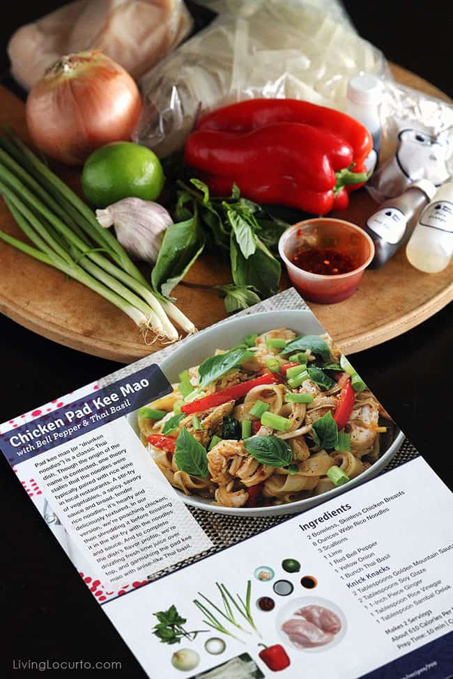 A classic Thai dish from Blue Apron with a twist. This Chicken Pad Kee Mao recipe is an easy family meal idea.