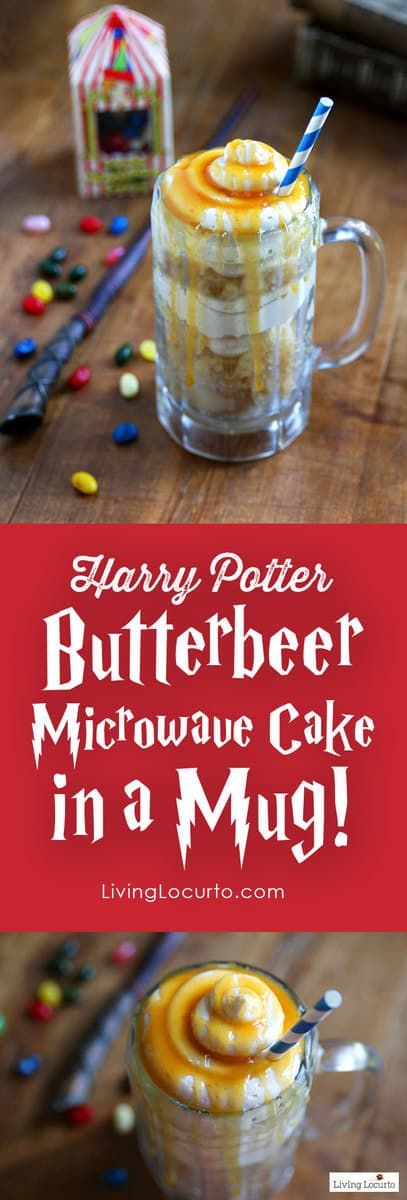 Homemade Harry Potter Butterbeer Cake! Microwave Cake in a Mug. Easy dessert recipe that's perfect for a Harry Potter Themed Birthday Party. LivingLocurto.com