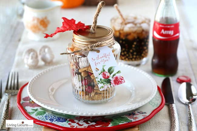 Easy Personalized Place Setting with Coke Bottles and Harvest Hash Trail Mix Recipe in DIY pumpkin jars! Thanksgiving table ideas and Fall party favors. by @livinglocurto